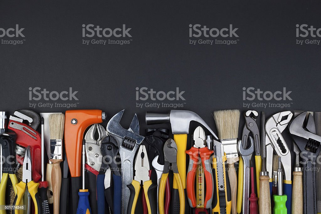 Work tools on black background. stock photo