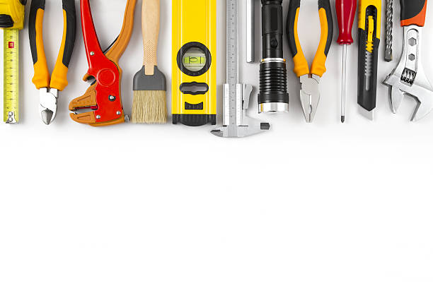 work tools on isolated white background - werkzeuge stock-fotos und bilder