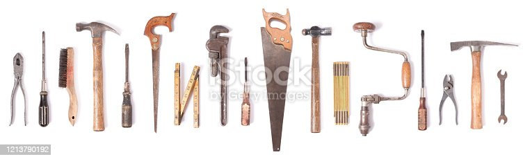 Collection of vintage work tools isolated on white