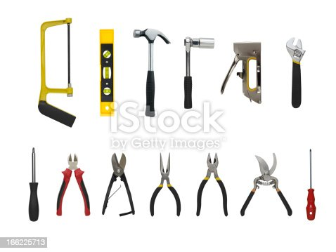 A Set of a lot of different tools and working materials , Isolated over white background