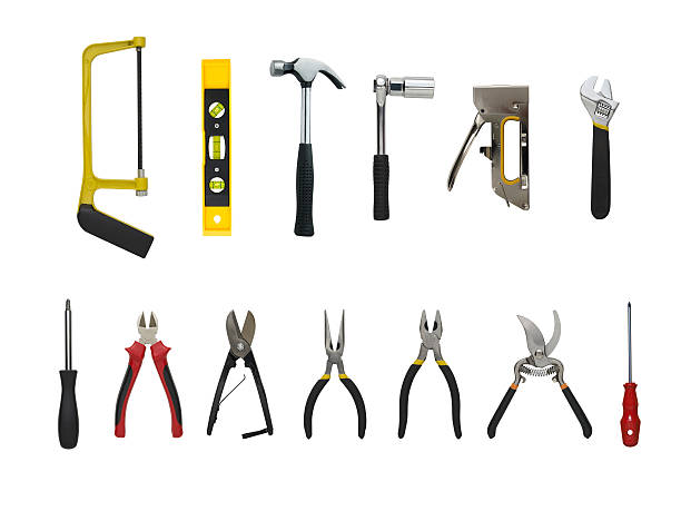 Work Tools A Set of a lot of different tools and working materials , Isolated over white background nail work tool stock pictures, royalty-free photos & images