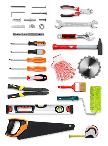 Selection of work tools on white background