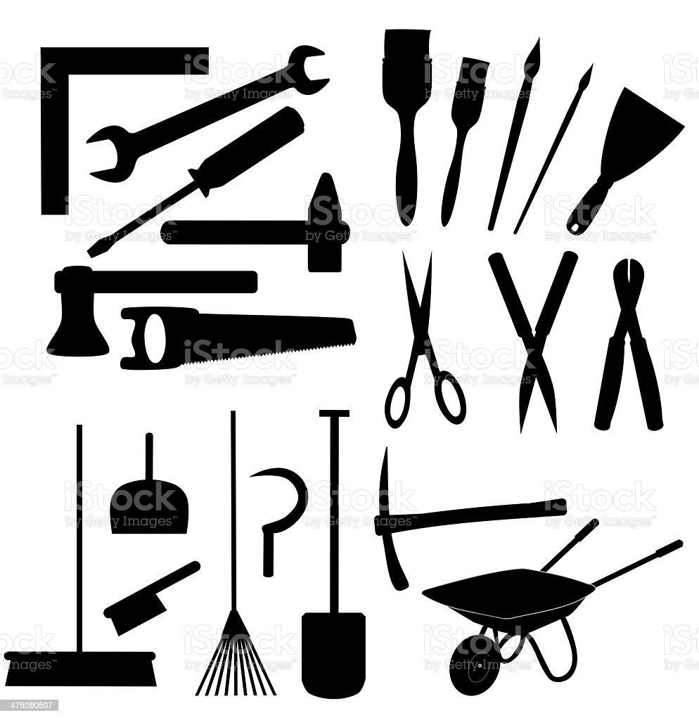 work tools set isolated royalty-free stock photo
