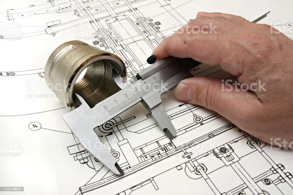 work with drawing and plumbing royalty-free stock photo