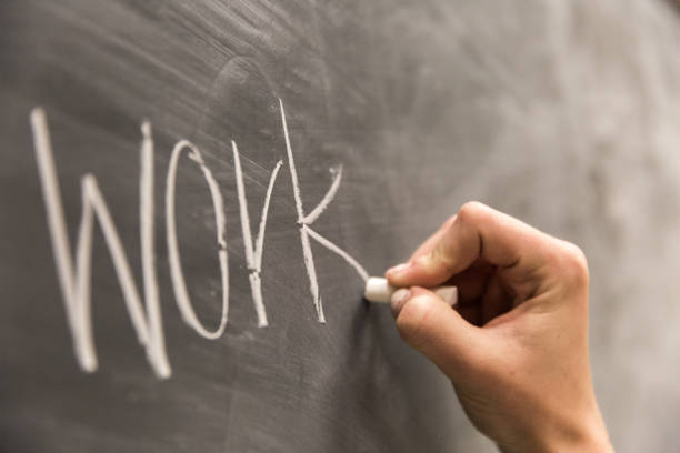 Work Written on Chalkboard stock photo