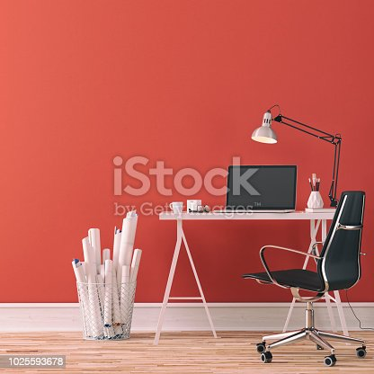 Workdesk with decoration on hardwood floor in front of empty red wall with copy space. 3D rendered image.