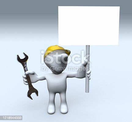 istock worker 3d stickman and banner 1218544333