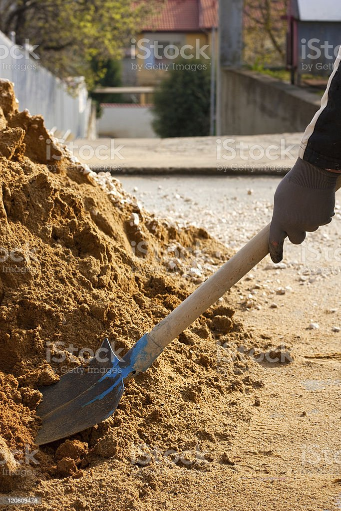 worker and building sand royalty-free stock photo