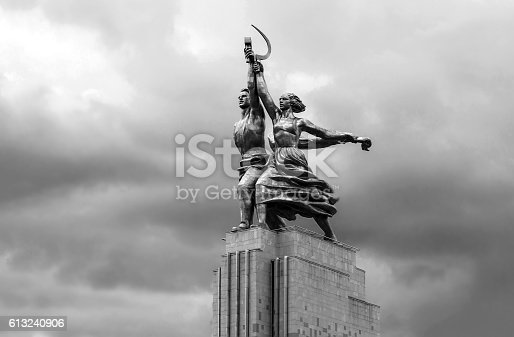 istock Worker and Kolkhoz Woman sculpture 613240906