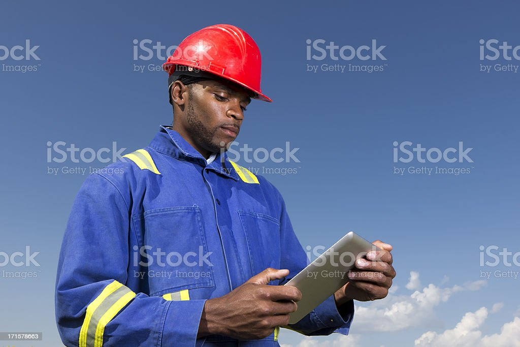 Worker and PC royalty-free stock photo