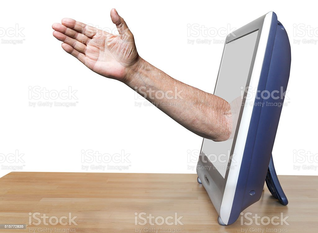 worker arm leads out TV screen stock photo
