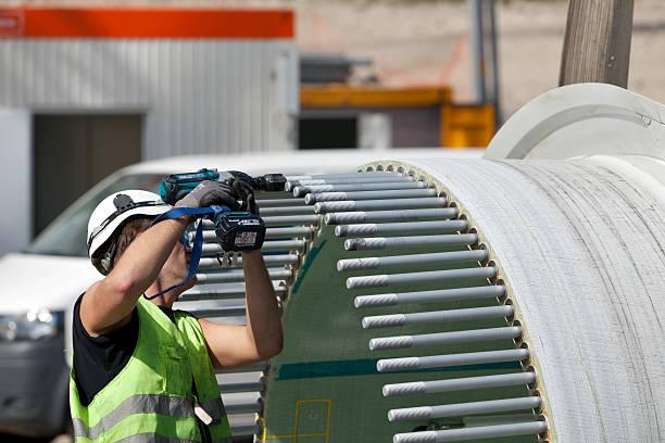 Arbeiter auf einer Windturbine Baustelle – Foto