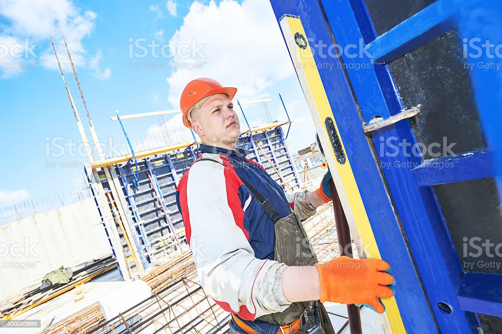 worker at building site stock photo