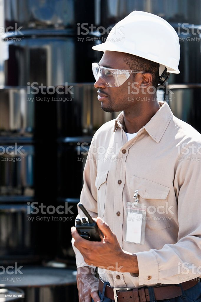 Worker at chemical plant stock photo