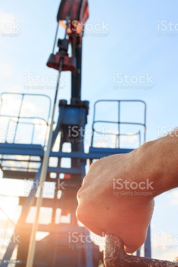 Worker at oil field stock photo
