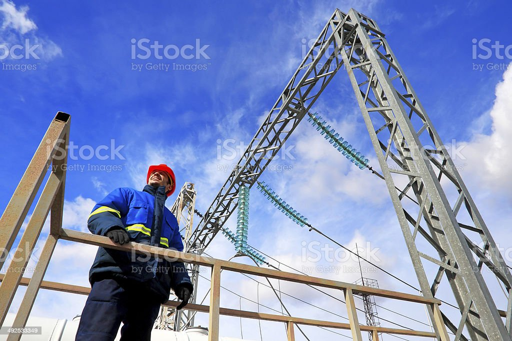 Worker at power plant stock photo