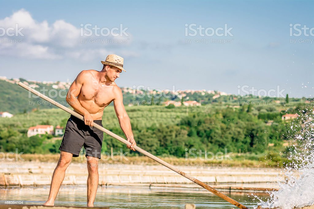 Worker at Salt Pans royalty-free stock photo