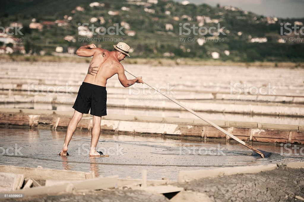 Worker at Salt Pans stock photo