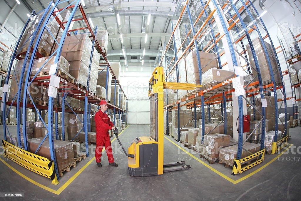 worker  at work in warehouse royalty-free stock photo