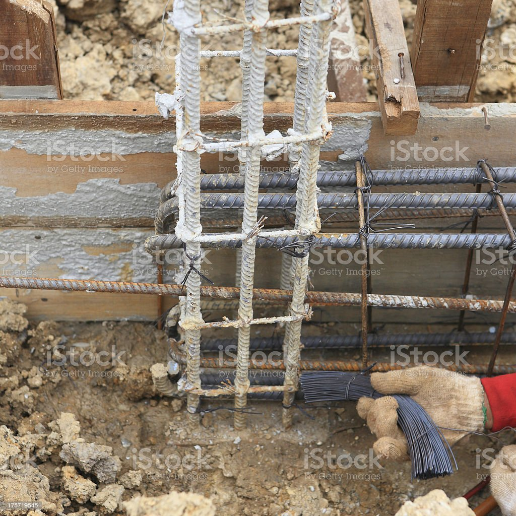 worker bending steel for construction job royalty-free stock photo
