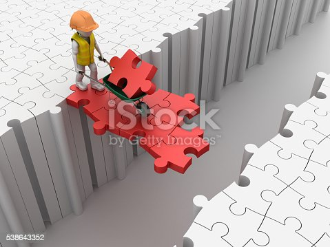 istock Worker Character with Wheelbarrow on Puzzle Pieces 538643352