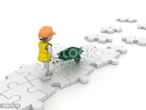 istock Worker Character with Wheelbarrow on Puzzle Pieces 539475252