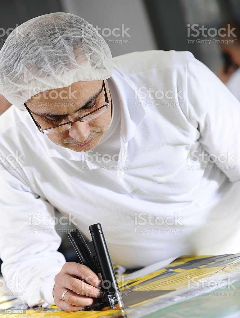 Worker checking quality of printed sheet royalty-free stock photo