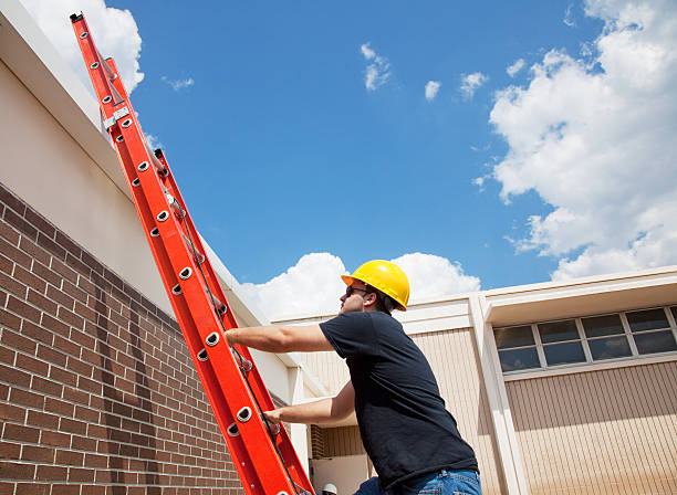 worker climbing up - ladder stock photos and pictures