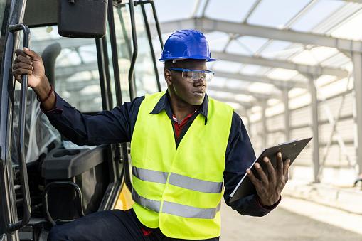 Steel construction builder start his work