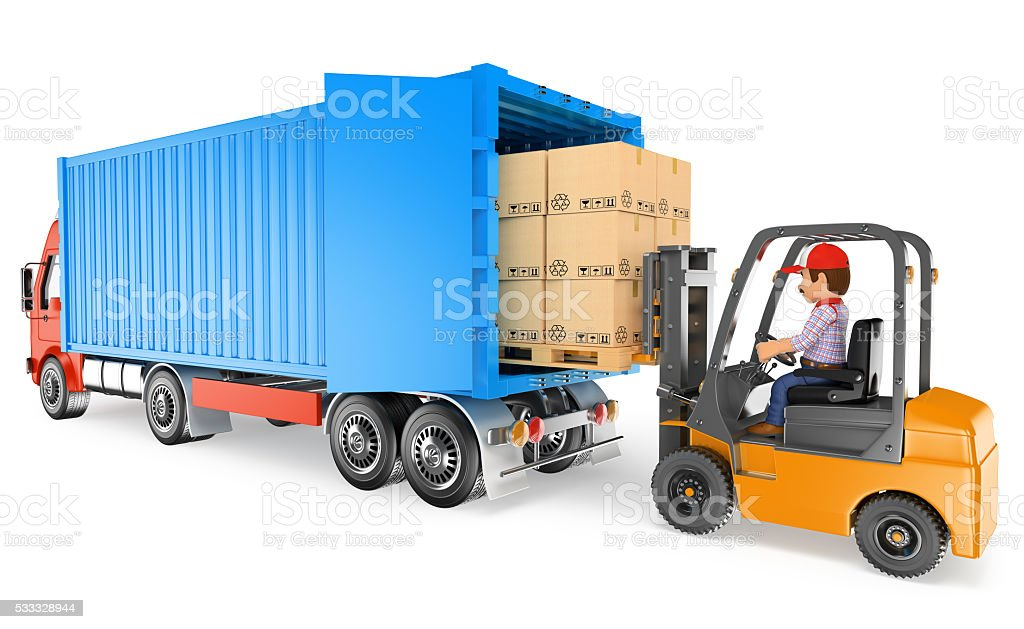 3d Worker Driving Forklift Loading A Container Truck Stock Photo - Download  Image Now