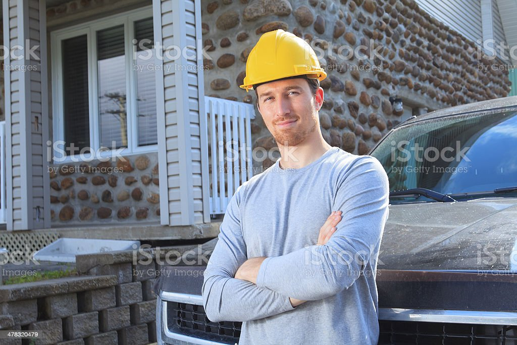 Worker - Employee Truck Standing Front royalty-free stock photo