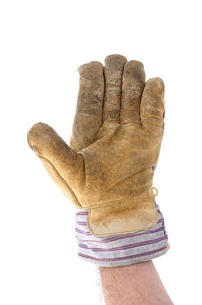 arbeiter geben stop geste oder winken - arbeitshandschuhe stock-fotos und bilder