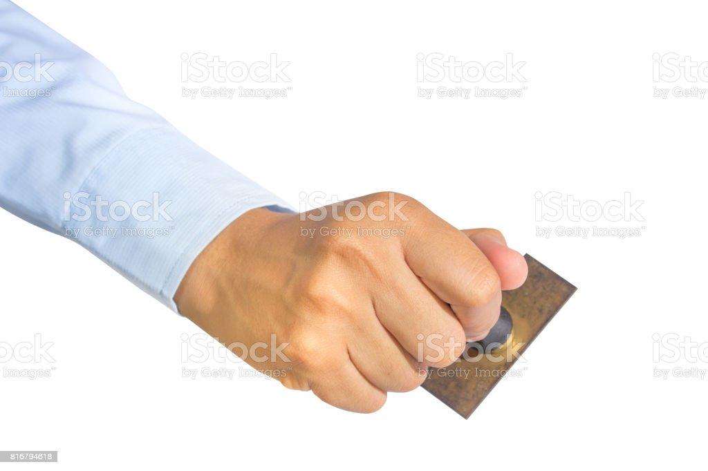 Arbeiter Hand halten alte Stempel – Foto
