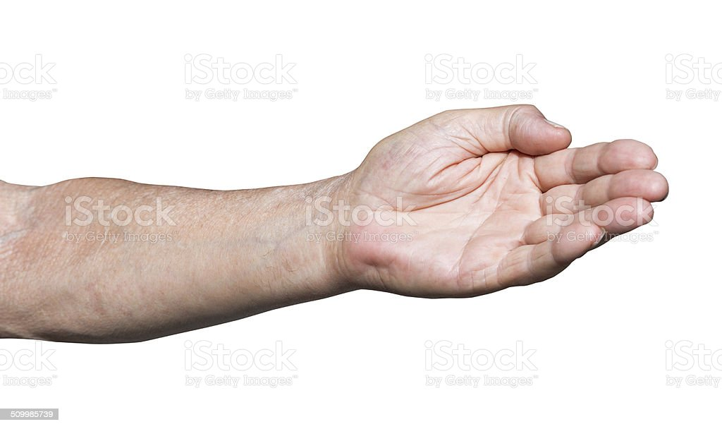 worker hand pointing direction - hand gesture stock photo