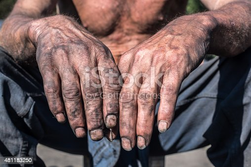 Charcoal-burners worker man with dirty hands.