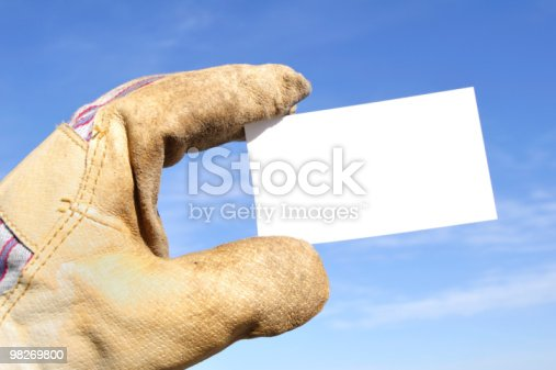 Worker Holding A Blank Business Card Stock Photo & More Pictures of Blank