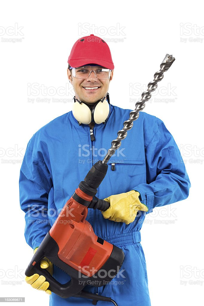 worker holding a power drill royalty-free stock photo
