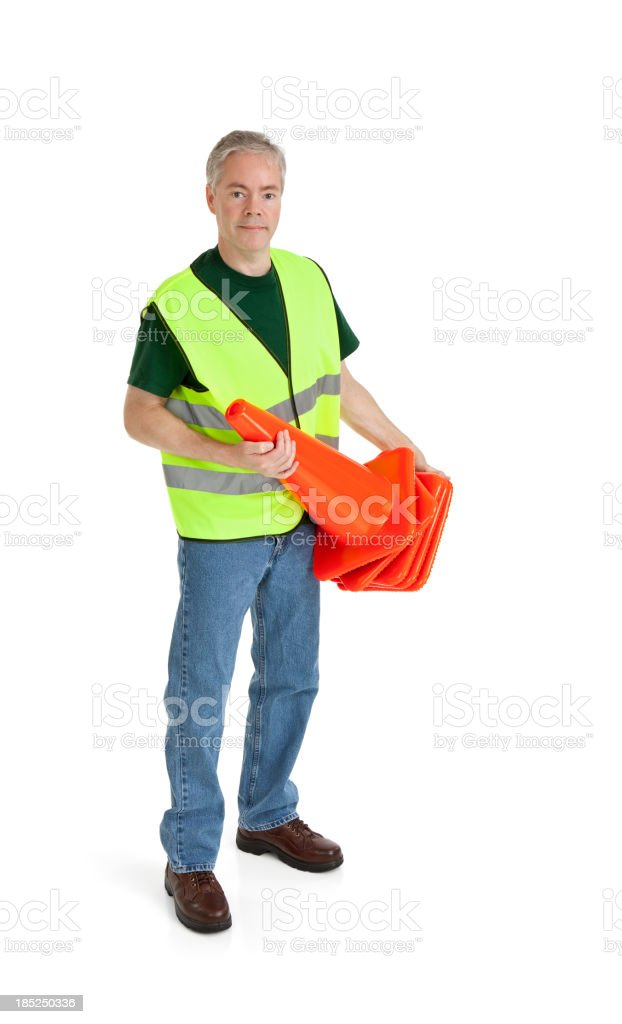 Worker Holding Traffic Cones royalty-free stock photo