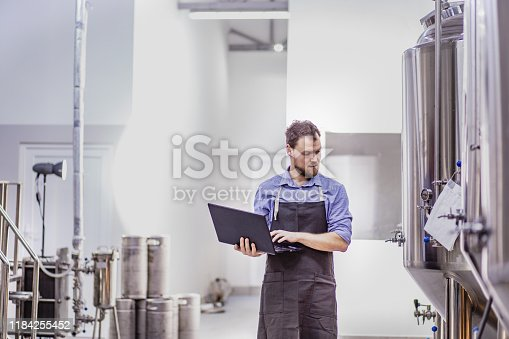 Portrait of a young entrepreneur working in a craft brewery while using a laptop