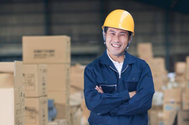 日本の労働者の倉庫 ストックフォト