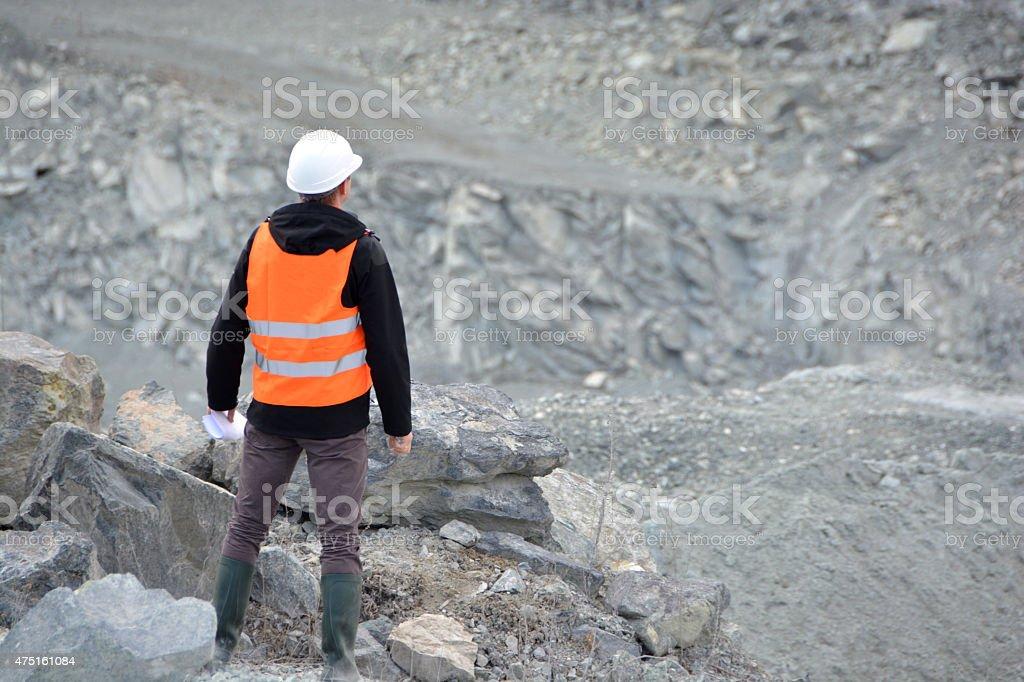 Worker in a helmet stock photo