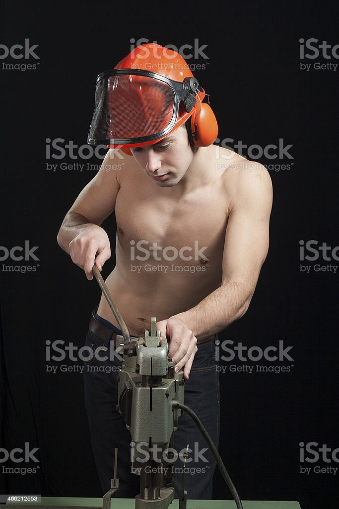 worker in a printing shop royalty-free stock photo