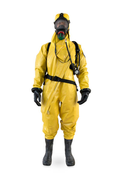 worker in a protective suit and breathing apparatus isolated - white suit stock photos and pictures