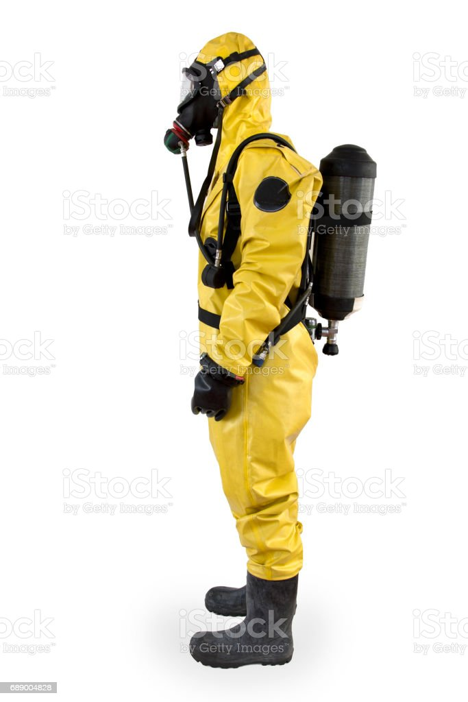 Worker in a protective suit and breathing apparatus isolated stock photo