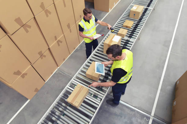 worker in a warehouse in the logistics sector processing packages on the assembly line  - transport and processing of orders in trade - conveyor belt stock pictures, royalty-free photos & images