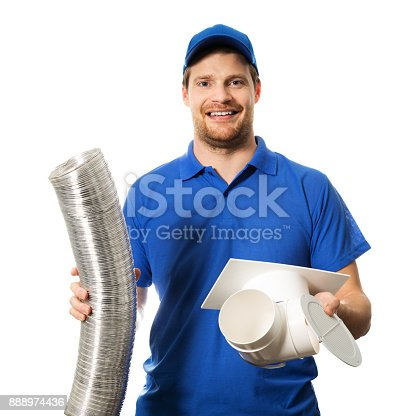 895571294 istock photo worker in blue uniform with ventilation system equipment in hands on white 888974436
