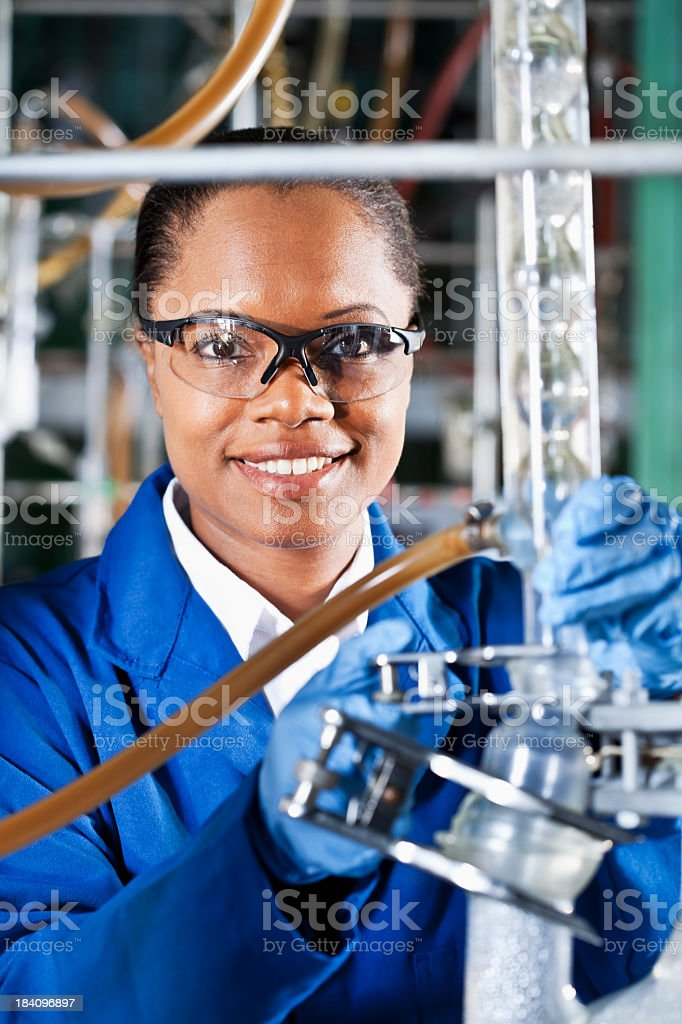 Worker in chemical plant royalty-free stock photo