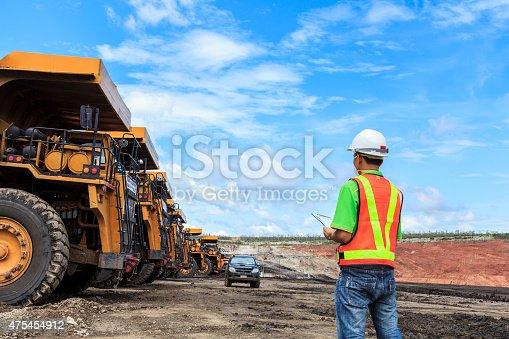istock Worker in lignite mine 475454912