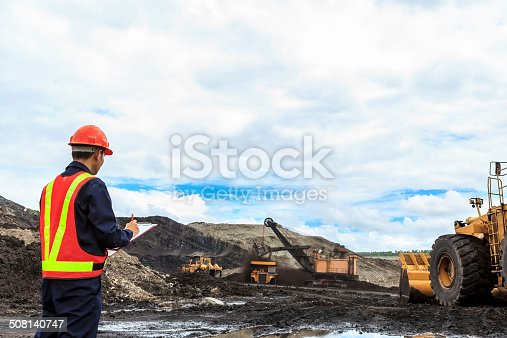 508140747 istock photo Worker in lignite mine 508140747