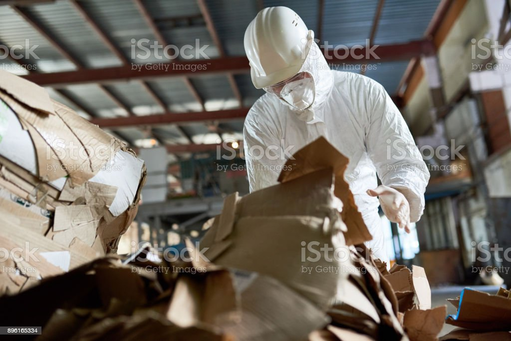 Worker in Protective Suit Sorting Cardboard stock photo